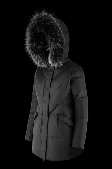 Long down jacket with detachable hood