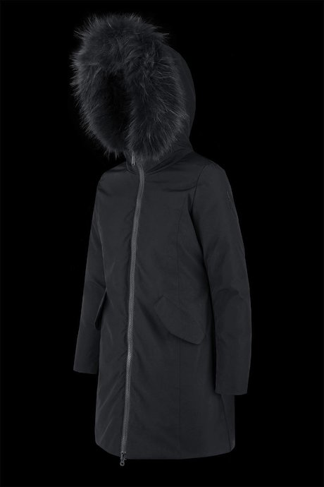 Long parka with coloured fur inserts