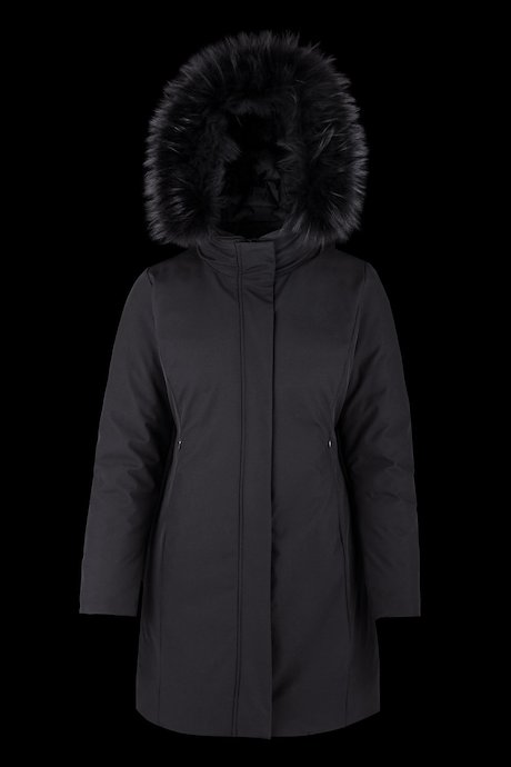 Long softshell parka with fur inserts