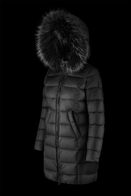 Long matt down jacket with fur inserts