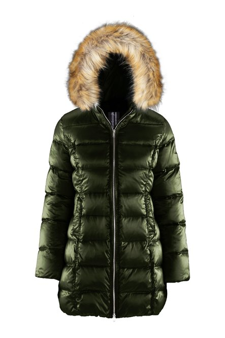 Down jacket in sateen nylon with faux fur hood