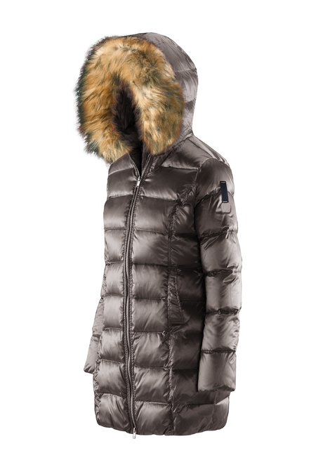 Long down jacket changing colour with faux fur inserts