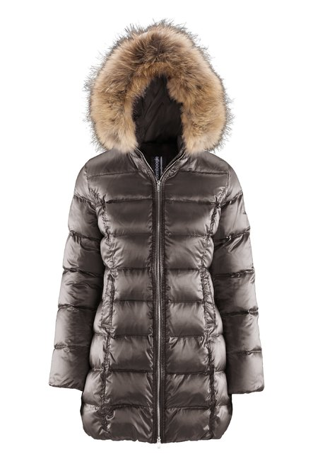 Long down jacket changing colour with fur inserts