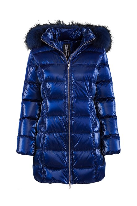 Down jacket metallic nylon with fur
