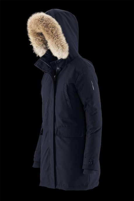 Long parka with fur inserts