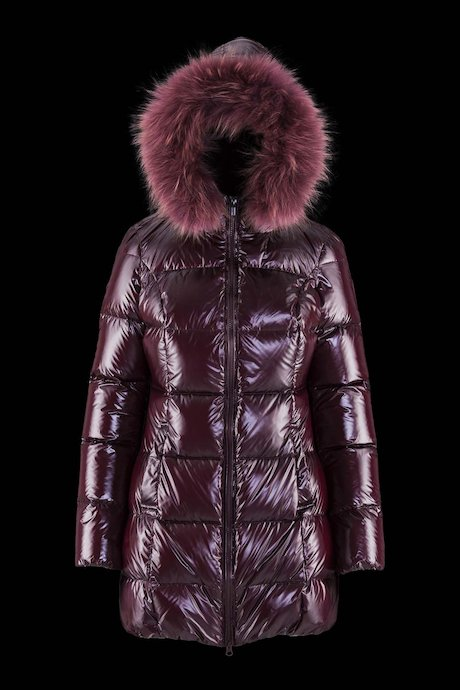 Down Jacket Laqué Hood Coloured Fur