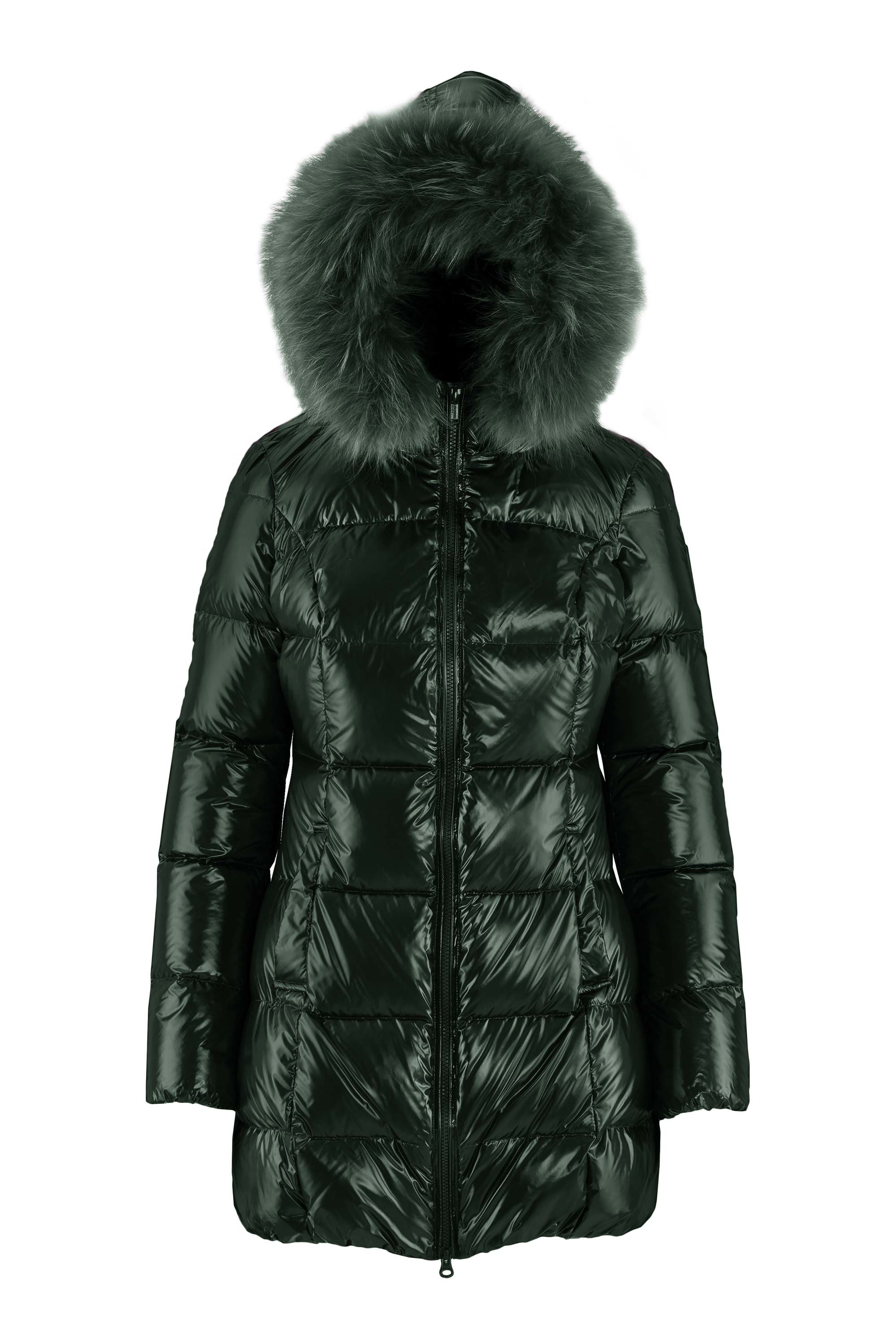 Long laqué down jacket
