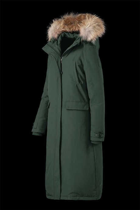 Extra long parka with fur inserts