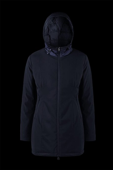 Long Bi Material Jacket with Hood