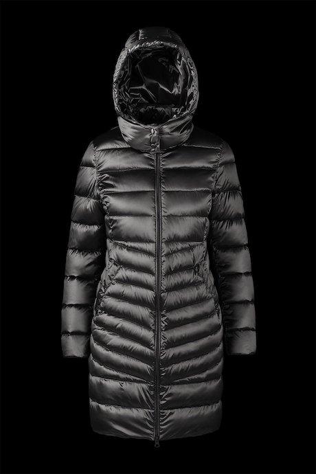 Long Shiny Down Jacket Detachable Hood