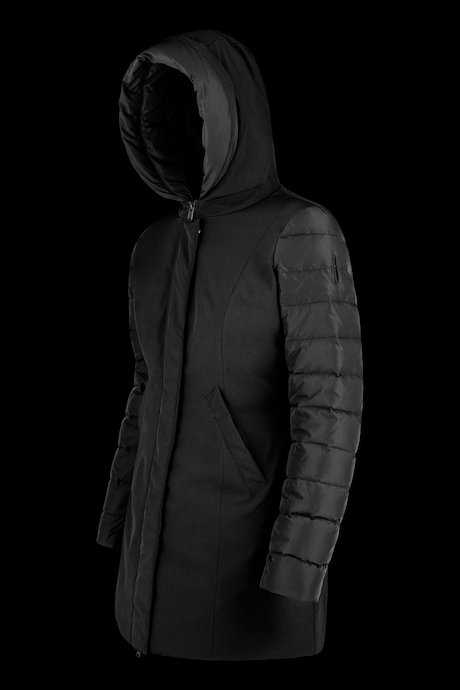 Bimaterial long down jacket