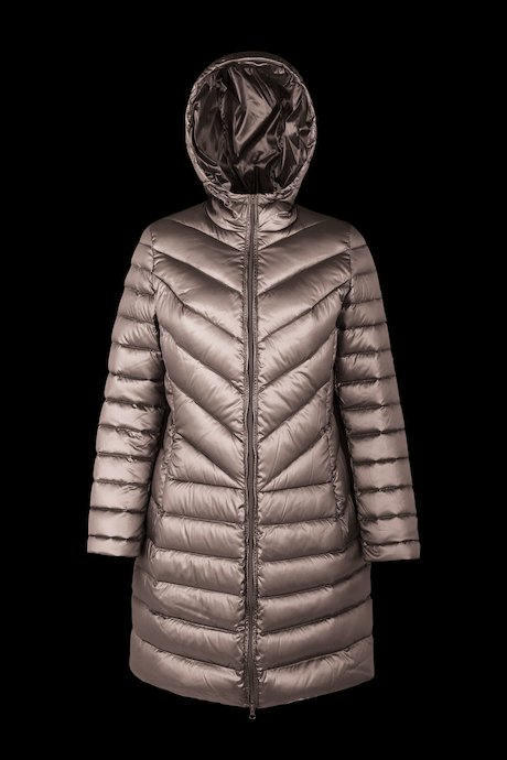 Long down jacket in changing colour nylon
