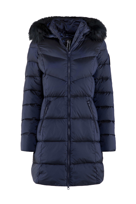 Down jacket in nylon moiré faux fur hood profile