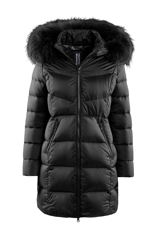 Down jacket in nylon Moiré fur hood profile