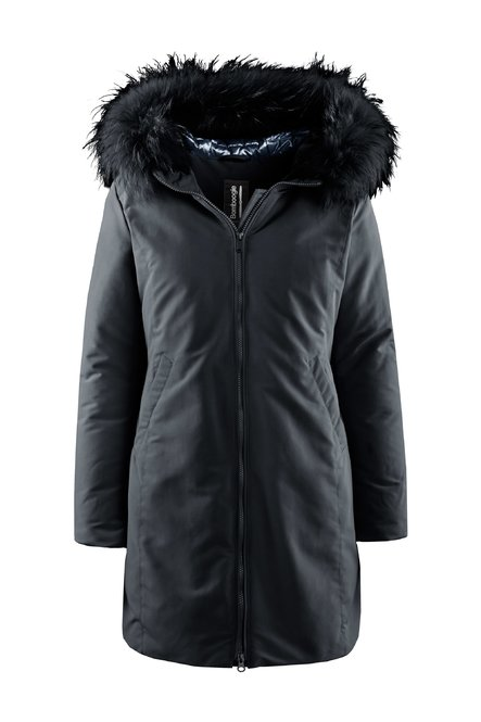 Padded jacket with coloured fur hood profile