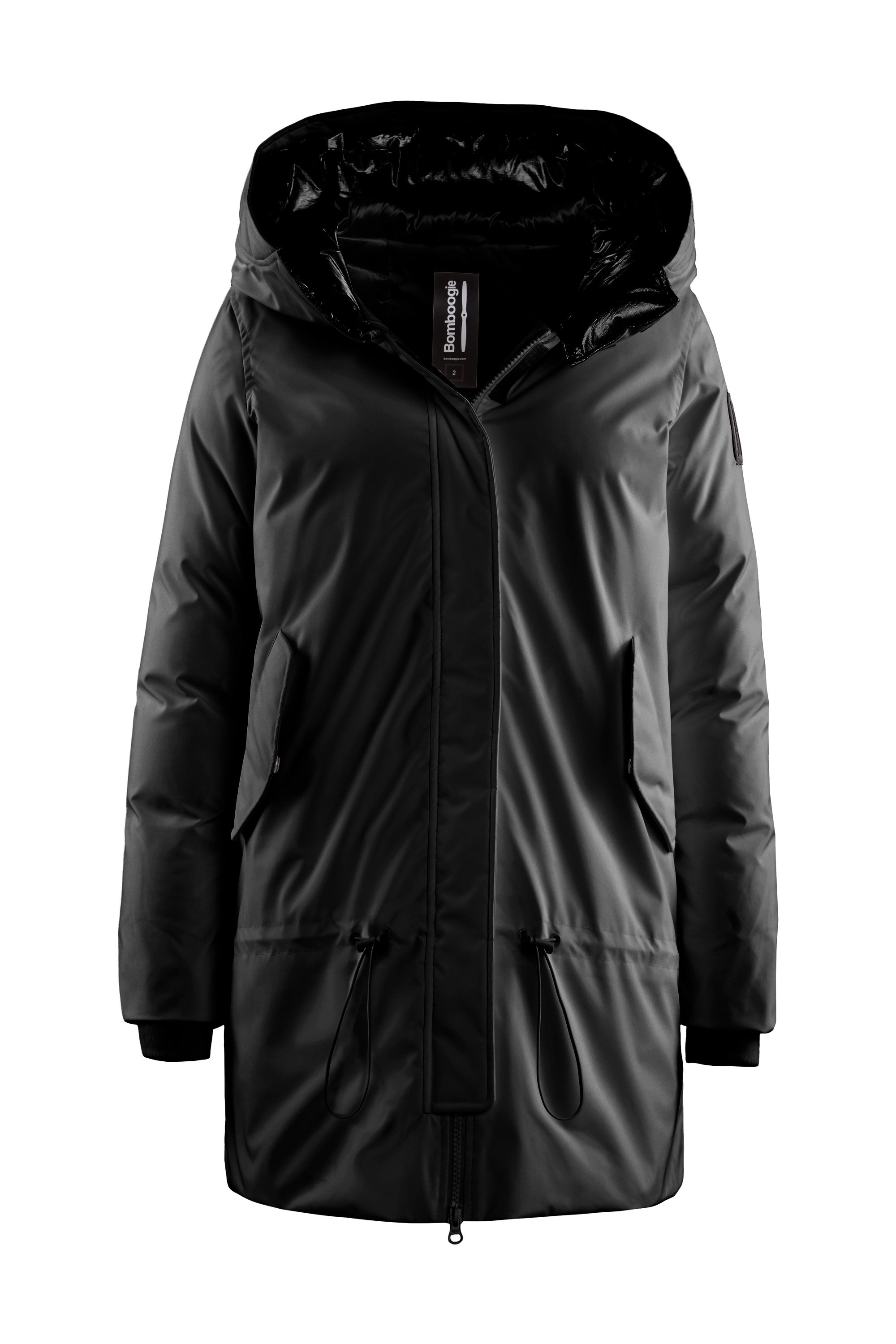 Down parka with hood with visor