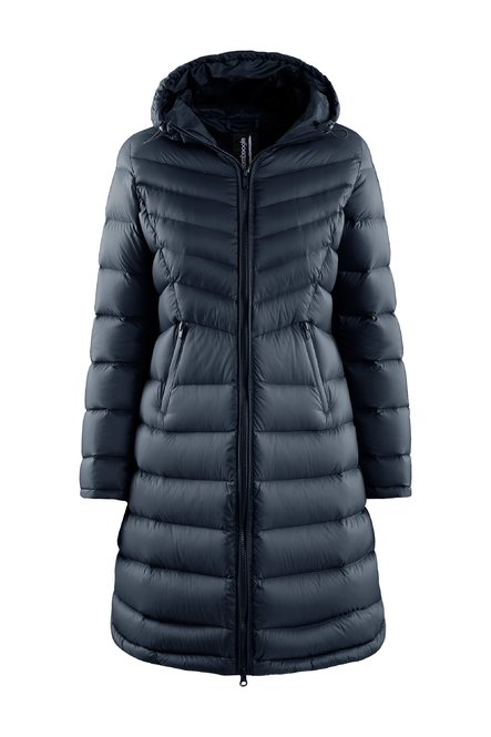 Down jacket in nylon waisted line