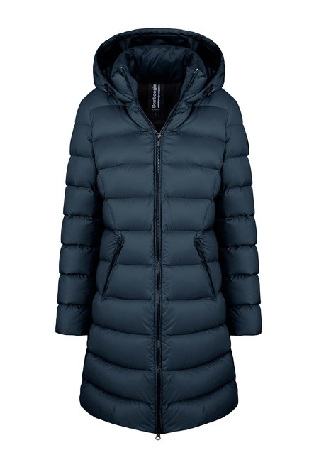 Long down jacket in recycled nylon