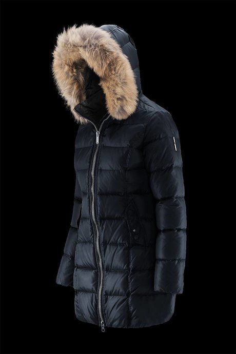 Semi Shiny Down Jacket Real Fur Inserts