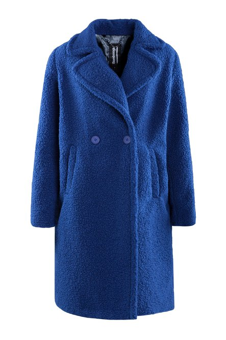 Coat with revers in faux fur shearling effect