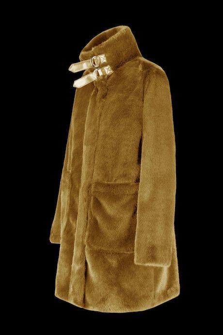 Kunstpelz Mantel mit Schnallen
