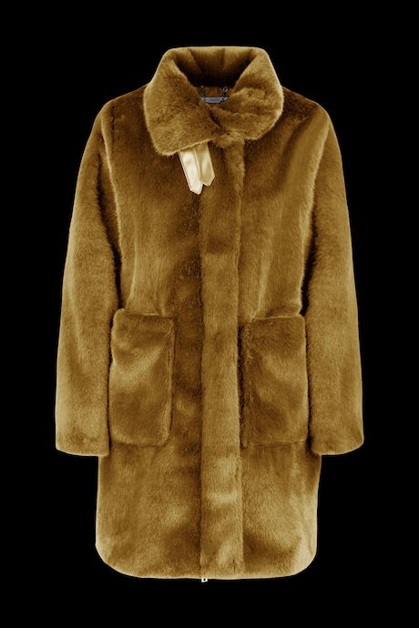 Faux fur coat with buckles