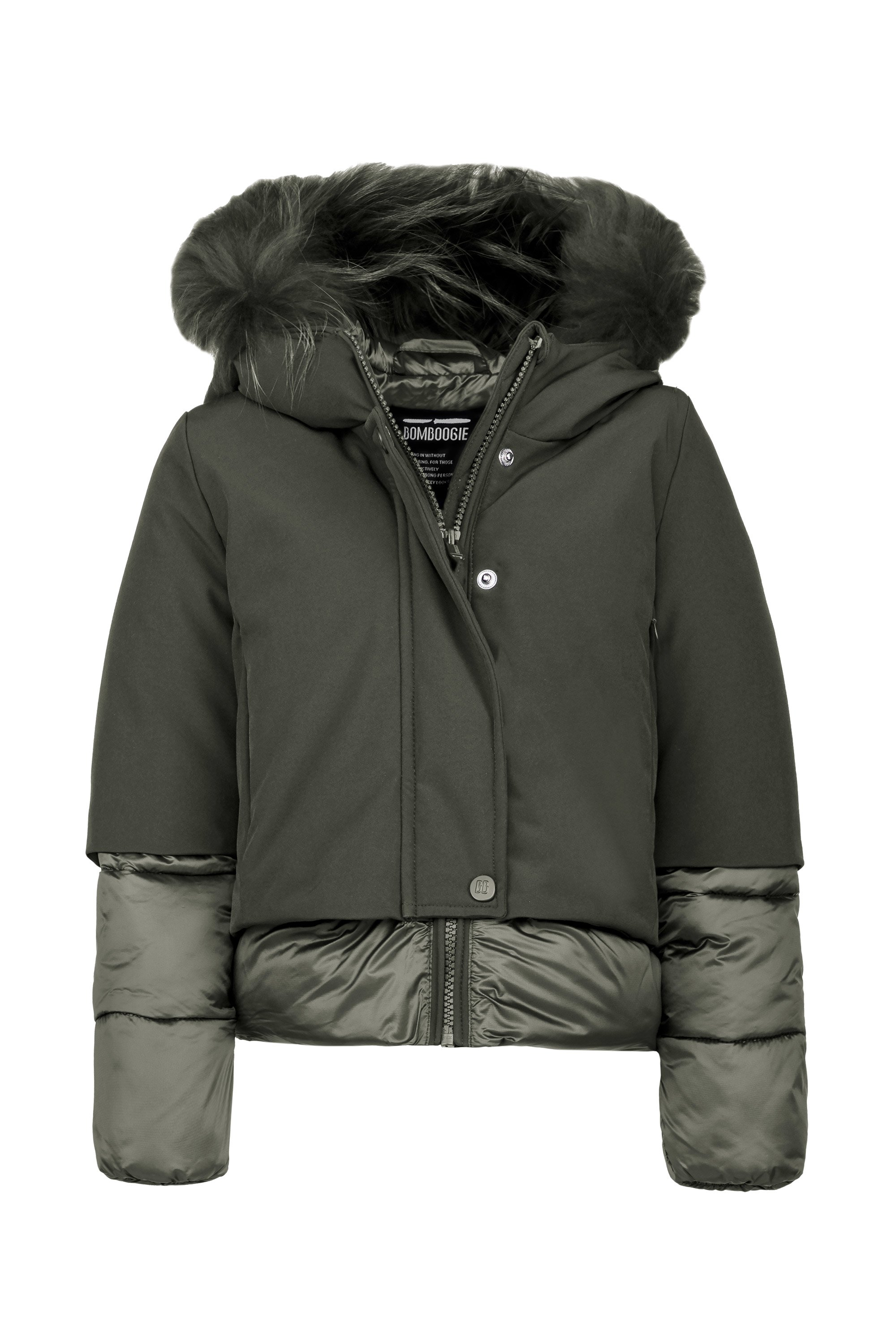 Synthetic short down jacket with fur hood