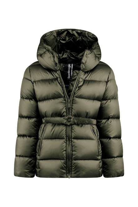 Down jacket in bright nylon with belt