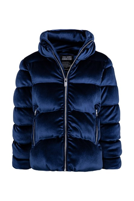 Bi material synthetic down jacket in velvet