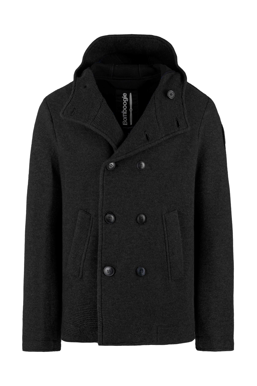 Abrigo con doble botonadura en mezcla de lana cocida