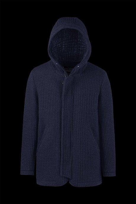 Mantel aus Wollgemisch mit Kapuze