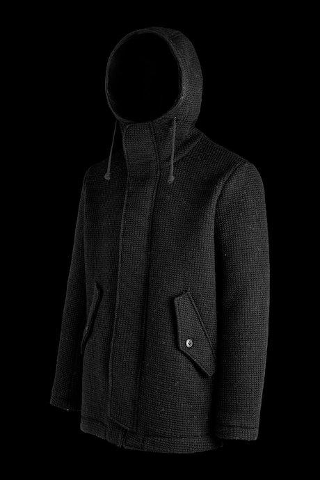 Wool melange parka with hood