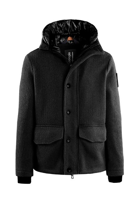 Short coat in woven boiled wool