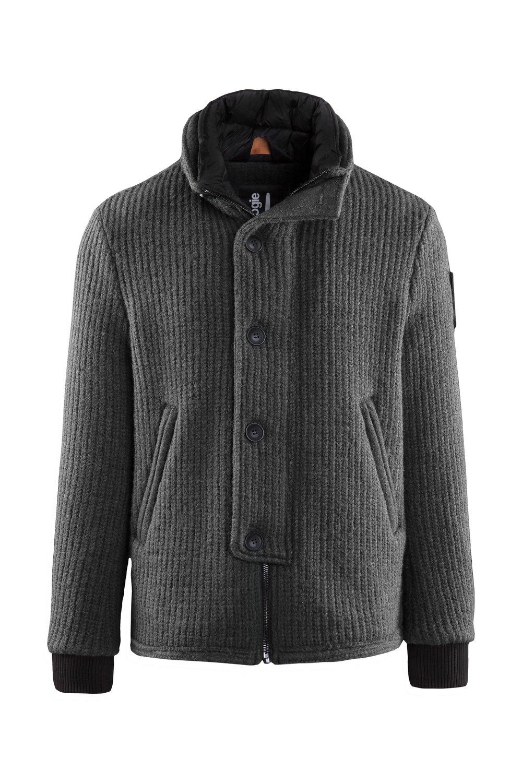 Short boiled wool coat wide collar