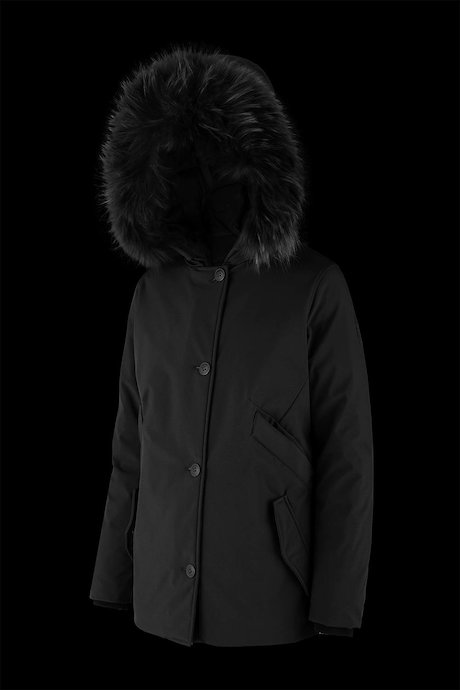 Softshell parka with fur inserts