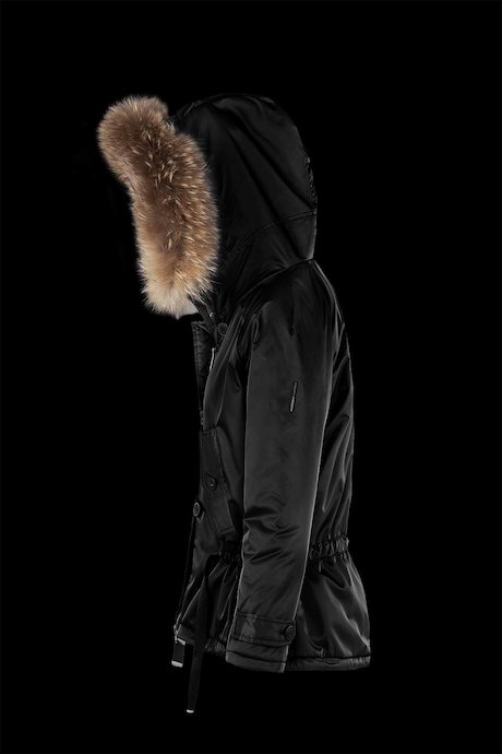 Satin parka with faux fur lining