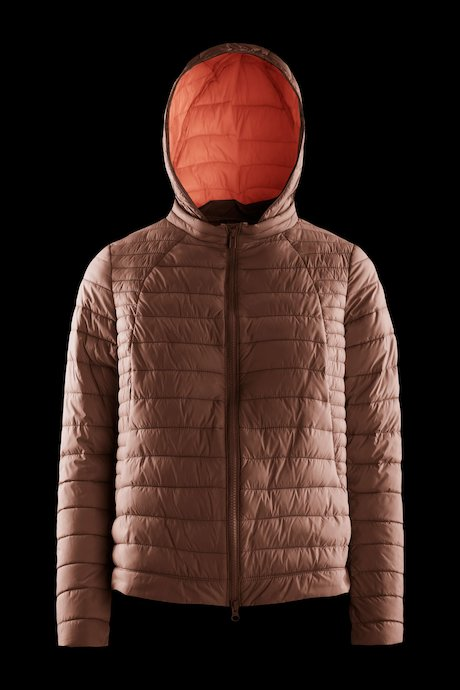Nylon poplin down jacket with detachable hood