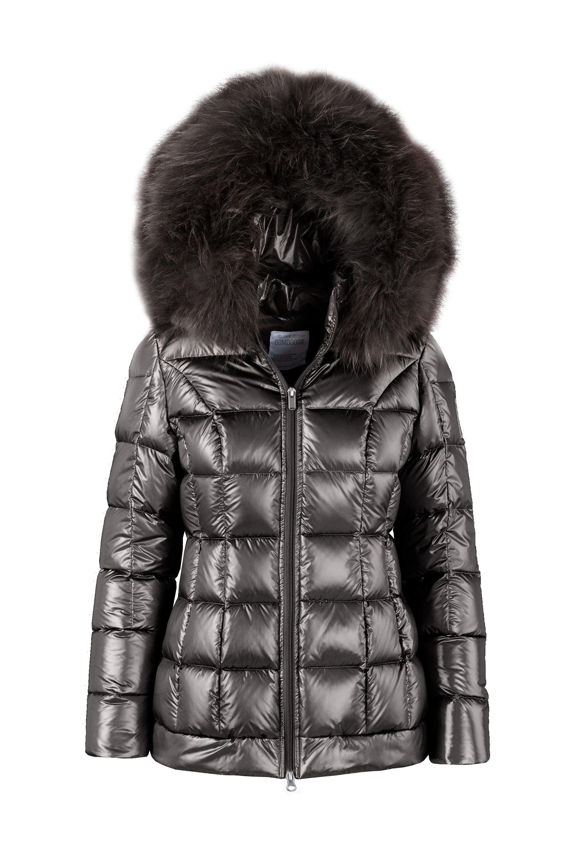 Short laqué down jacket