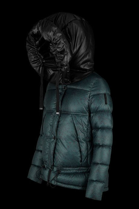 Down jacket in printed nylon with over hood