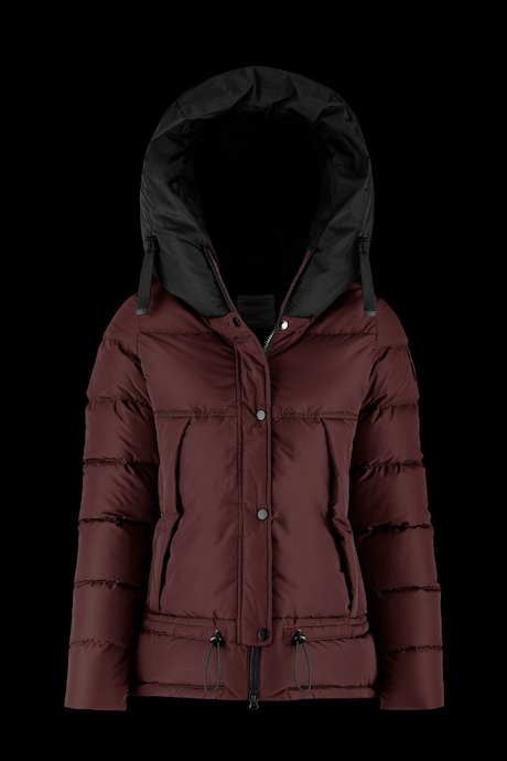 Two colours down jacket with over hood