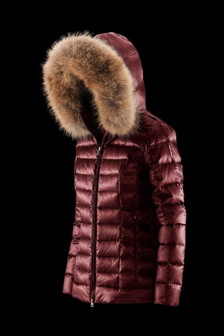 Short down jacket with fur inserts