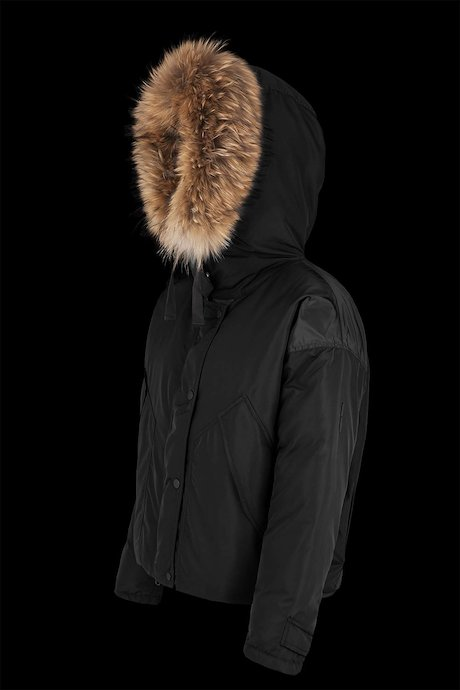 Short down jacket with fur inserts with over pockets
