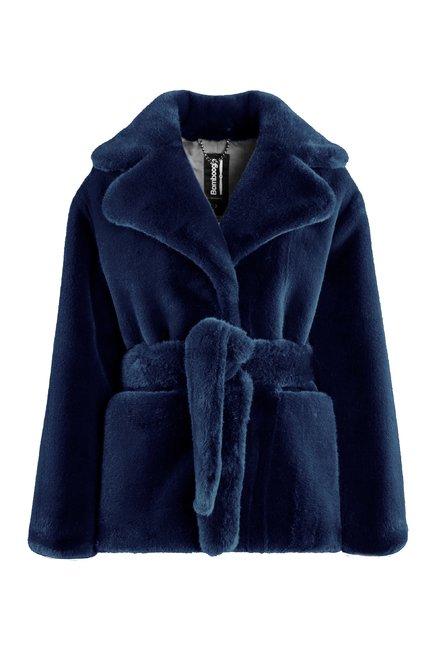 Faux fur short coat with belt