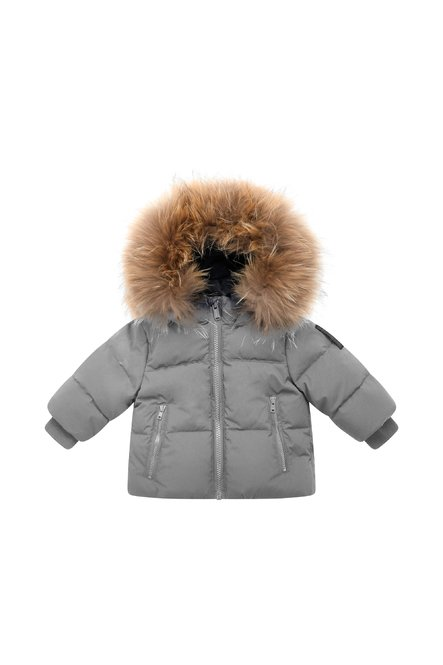 Baby down jacket with fur hood