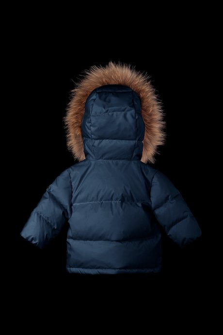 Down jacket with hood and fur inserts