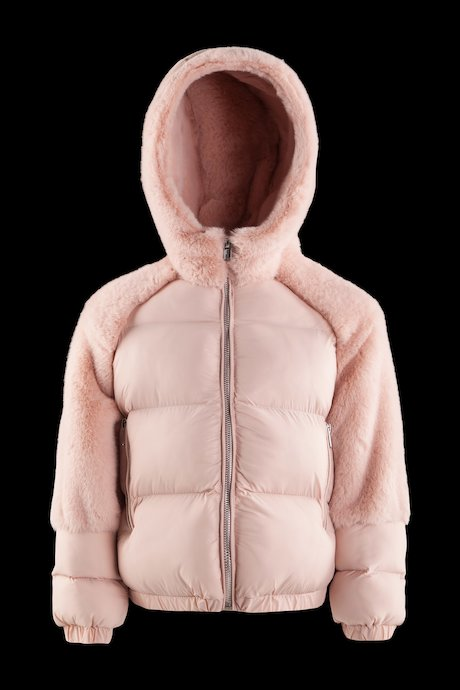 Down jacket with faux fur inserts
