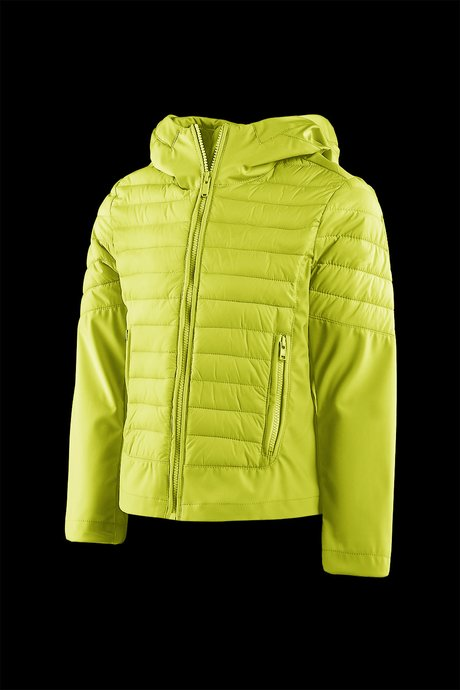 Girls' bi material down jacket with hood