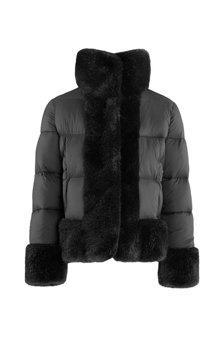 Synthetic down jacket with faux fur trims