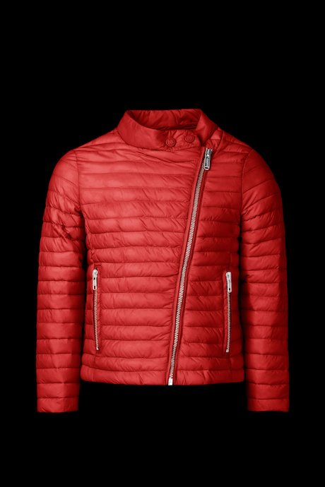 Down jacket asymmetrical fastening