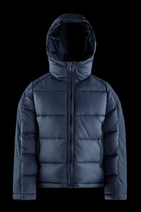 Bi-material down jacket